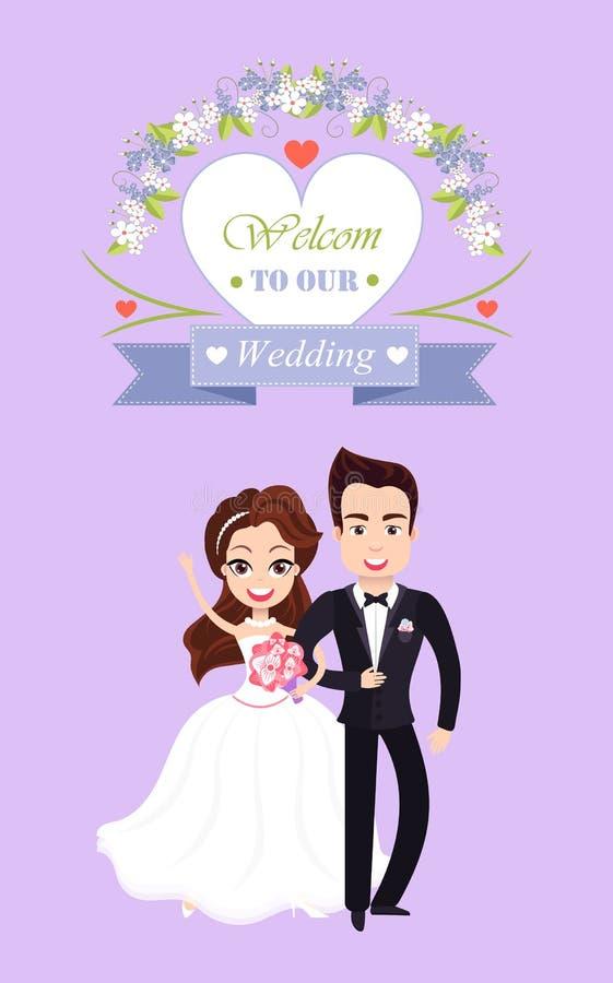 Sposo e sposa sposati, vettore dell'invito di nozze illustrazione di stock