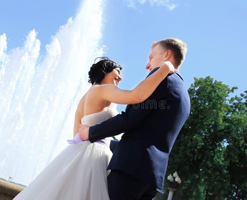 Sposo Enamoured e la sposa contro una fontana immagini stock libere da diritti