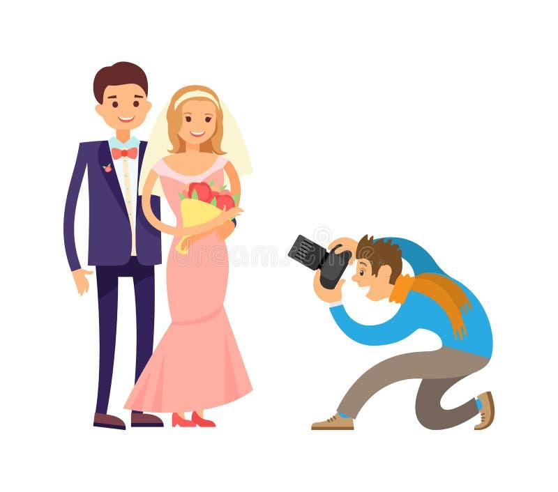 Sposo felice Photograph Vector della sposa di nozze delle coppie royalty illustrazione gratis