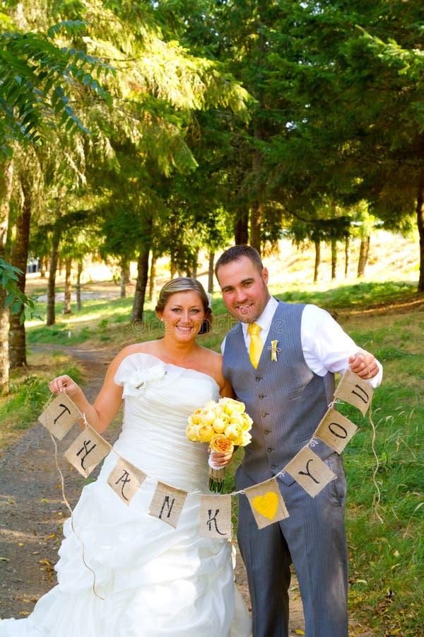 Sposo Thank You Banner della sposa fotografia stock