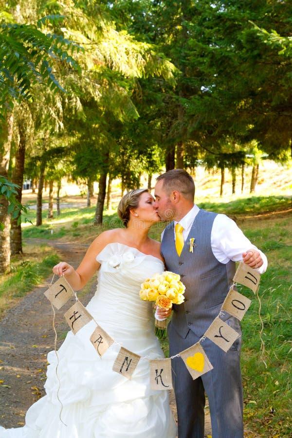 Sposo Thank You Banner della sposa immagini stock