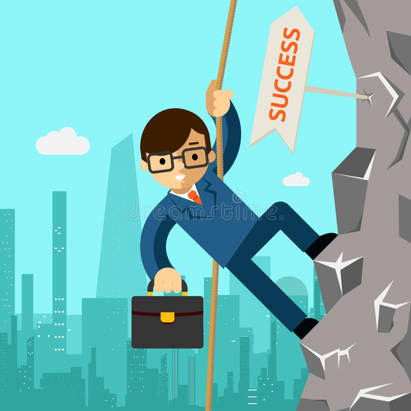 Sposobu sukces Biznesmen aspiruje przywódctwo royalty ilustracja