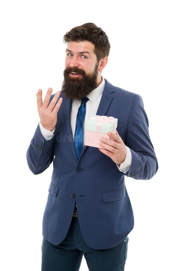 Sposoby promowa? lojalno?? nagr?d program Biurowy przyj?cie przyjemna niespodzianka Prezent dla klienta Mężczyzny brodaty modniś  zdjęcia stock
