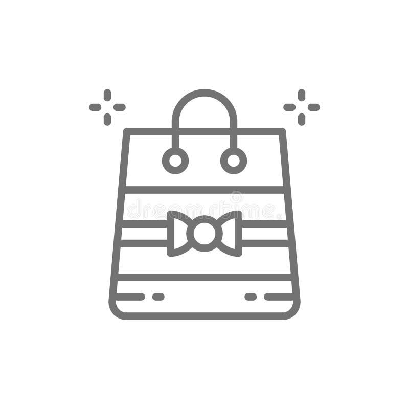 Spostamento del pacchetto, regalo, linea icona della borsa illustrazione vettoriale