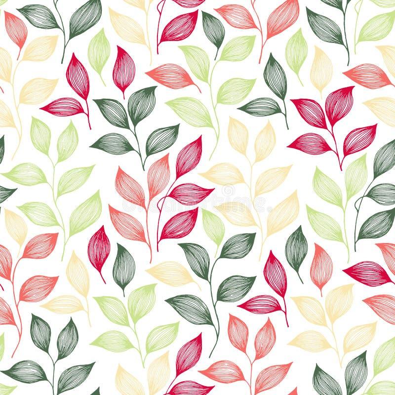 Spostamento dell'illustrazione senza cuciture di vettore del modello delle foglie di tè royalty illustrazione gratis