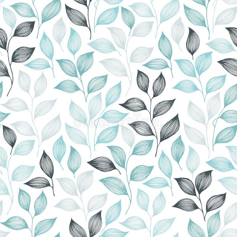 Spostamento dell'illustrazione senza cuciture di vettore del modello delle foglie di t? illustrazione di stock