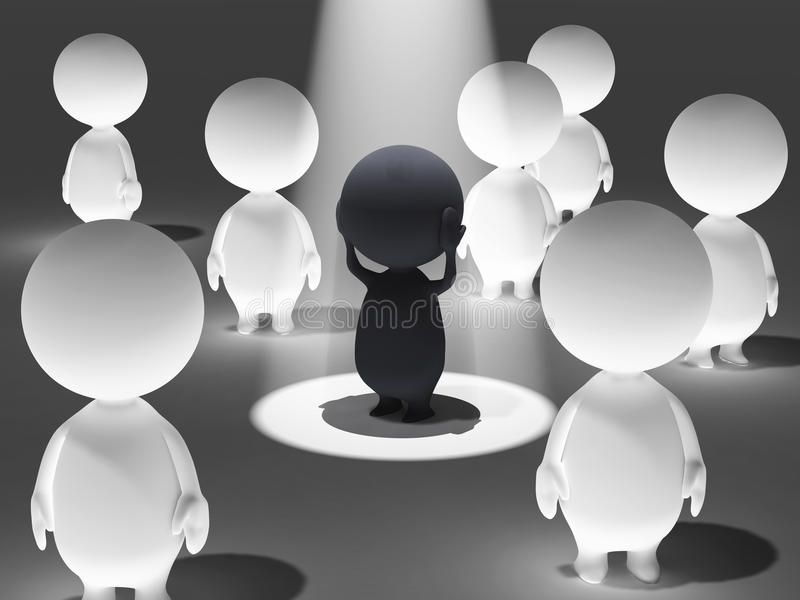 Spot it. 3D illustration of spot a villain stock illustration