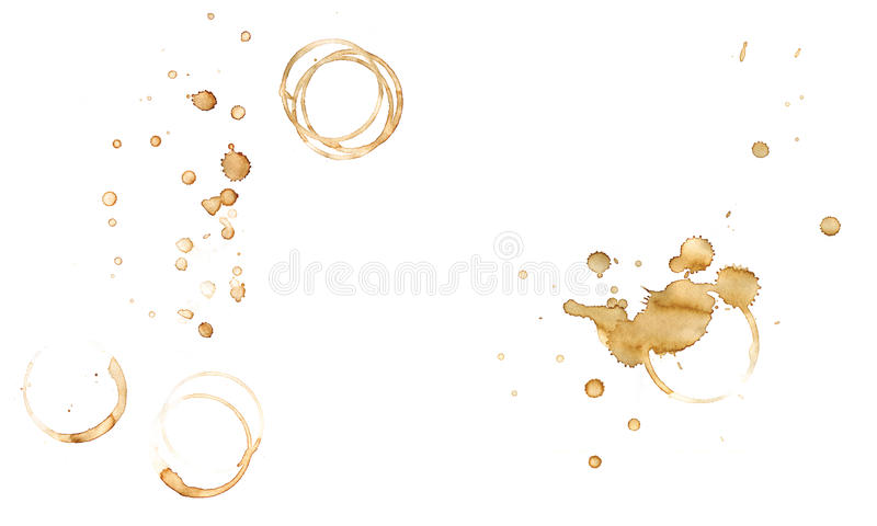 Spot coffee. This spot coffee splashes, made by hand actions by cup of coffee on white texture paper royalty free illustration