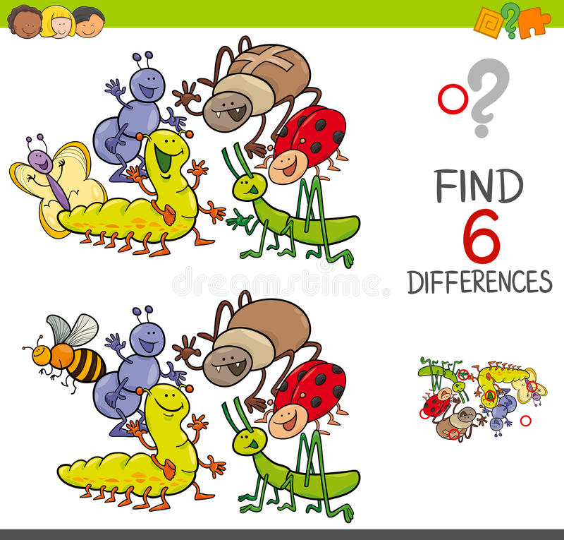 Spot the differences with cute insects. Cartoon Illustration of Spot the Differences Educational Activity Game for Children with Insects Animal Characters Group royalty free illustration
