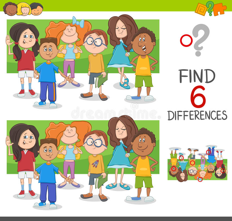 Spot the differences game. Cartoon Illustration of Spot the Differences Educational Game with Elementary Age Children Characters Group vector illustration