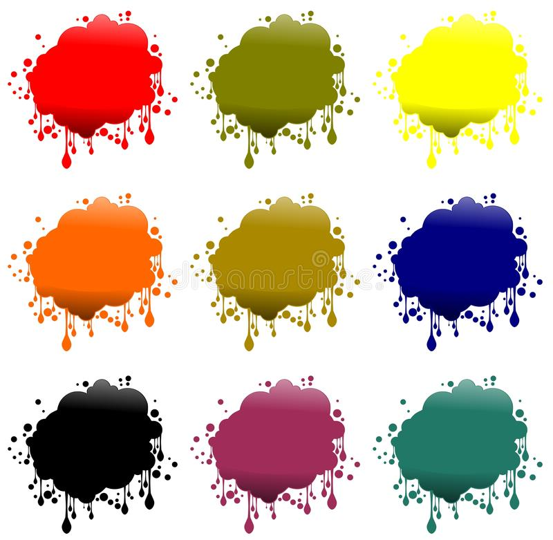Spot labels. Set of label with stylized spot in six different colors vector illustration