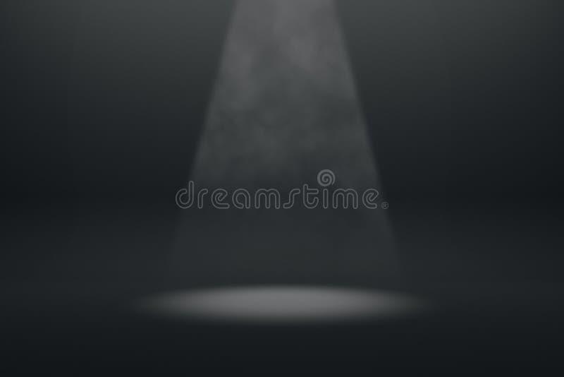 Spot light in black interior stock illustration