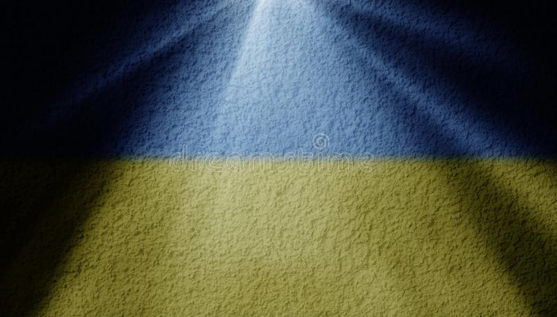 Spot light with ukrainian flag. On a wall vector illustration