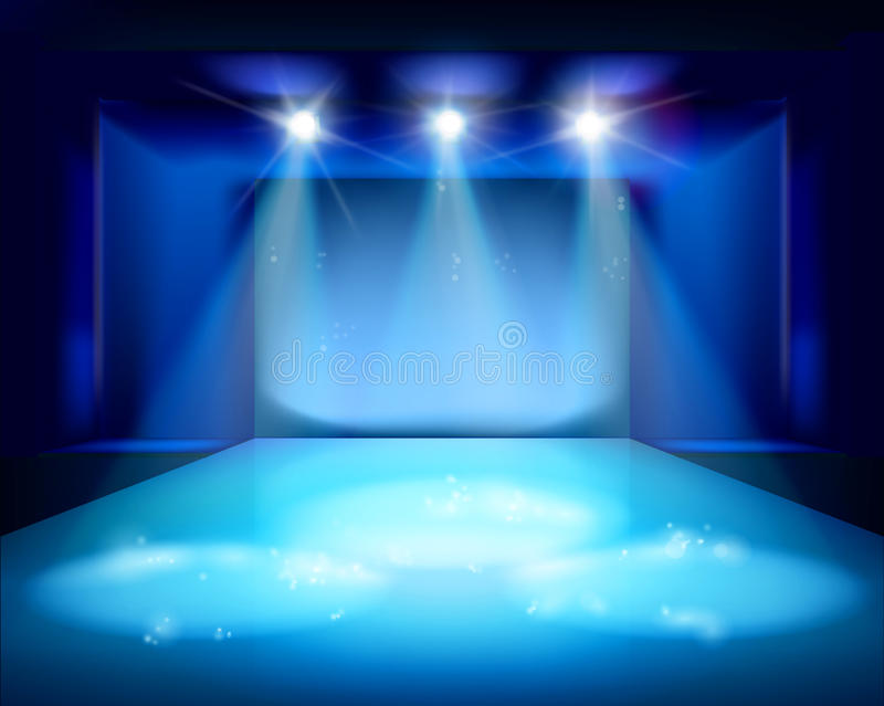 Spot lighting on the stage. Vector illustration. royalty free illustration