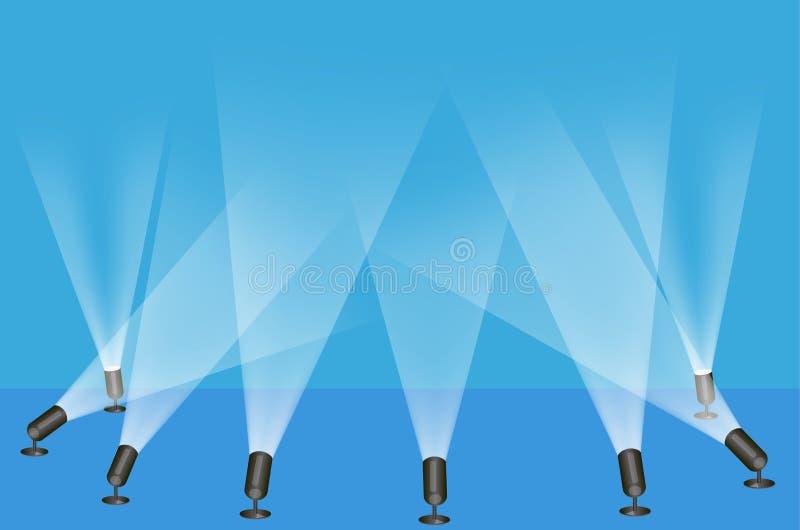 Spot lights. Illustration of spot lights used on a stage play vector illustration