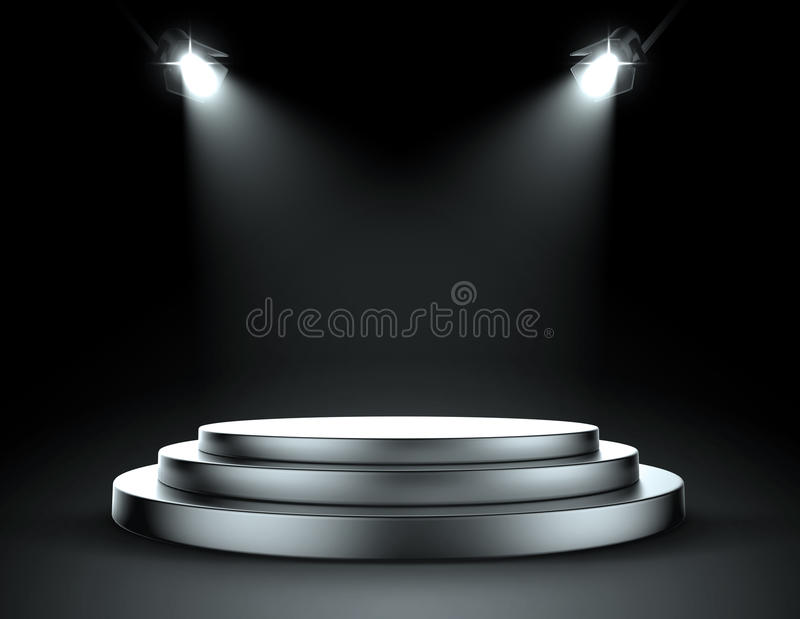 Spot lights with stage. 3d modelled and rendered spot light and stage stock illustration