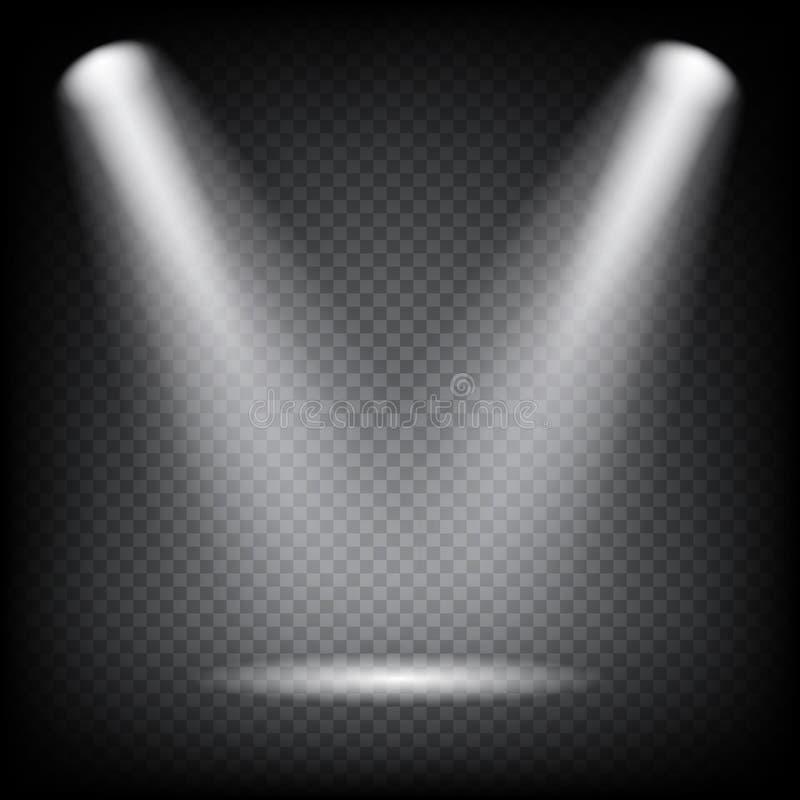 Spot lights on transparent background. Vector light effect. Spot lights on transparent background. Vector light effect vector illustration