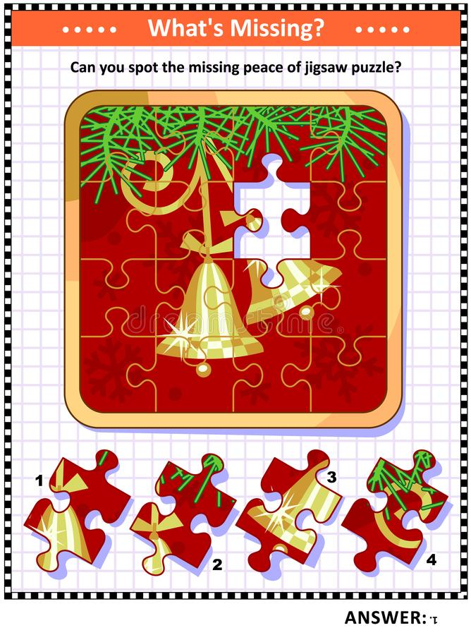 Spot the missing piece game with bells on christmas tree branch picture royalty free illustration