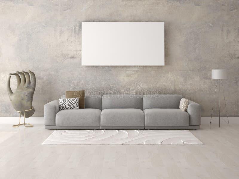 Spot omhoog de woonkamer met een moderne comfortabele bank vector illustratie
