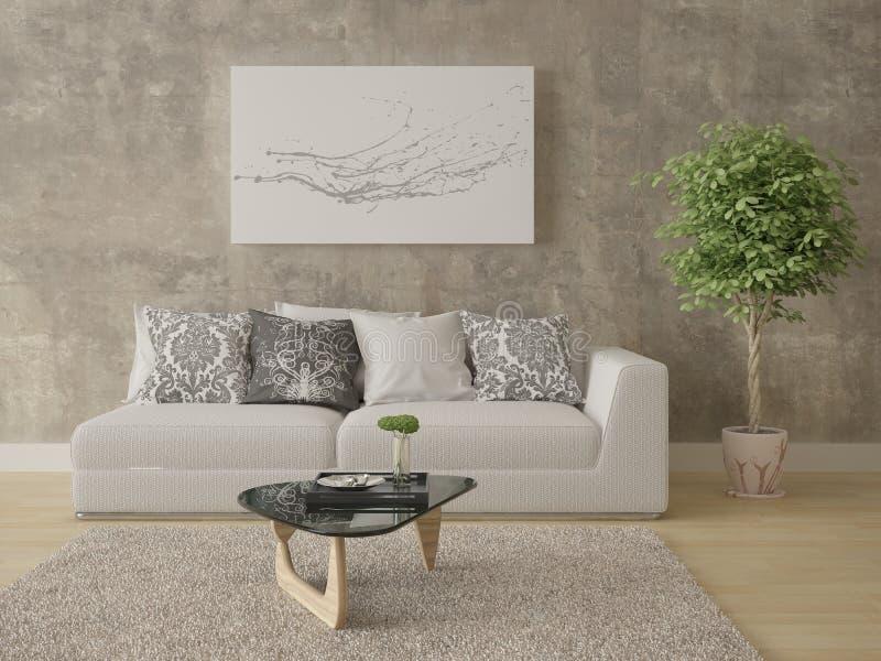 Spot omhoog een heldere woonkamer met een compacte comfortabele bank royalty-vrije illustratie