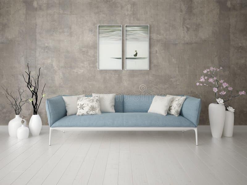 Spot omhoog een modieuze woonkamer in een klassieke stijl met een comfortabele bank stock illustratie