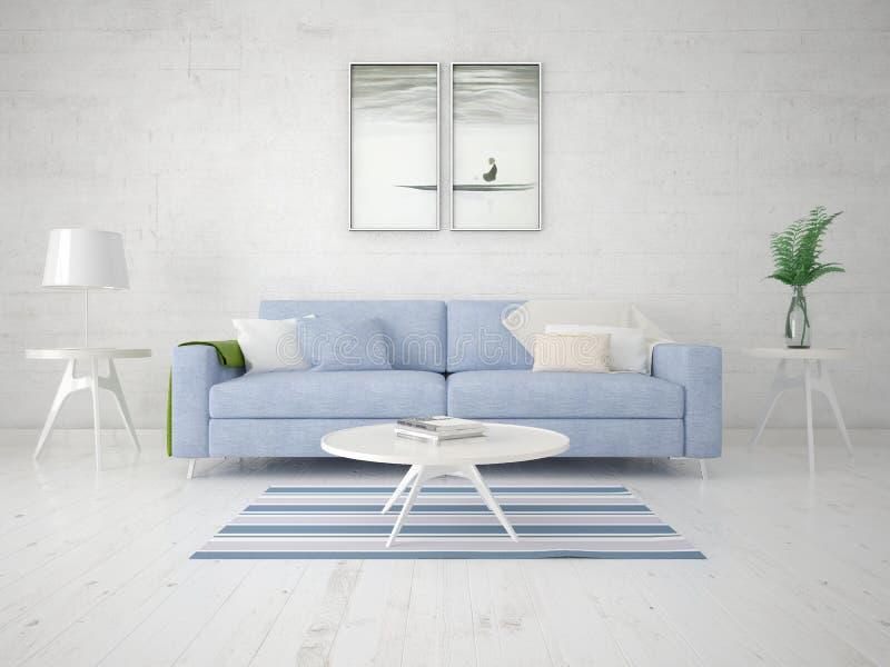 Spot omhoog een perfecte woonkamer met een modieuze compacte bank stock illustratie