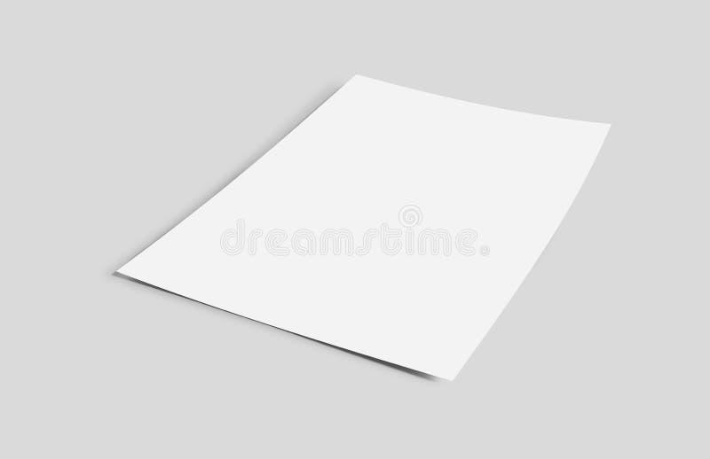 Spot omhoog van een blad van document op een achtergrond met schaduw wordt - het 3d teruggeven geïsoleerd die vector illustratie