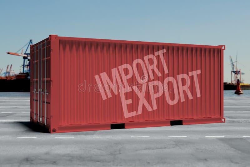 Spot omhoog van een container op een dok - het 3d teruggeven stock illustratie