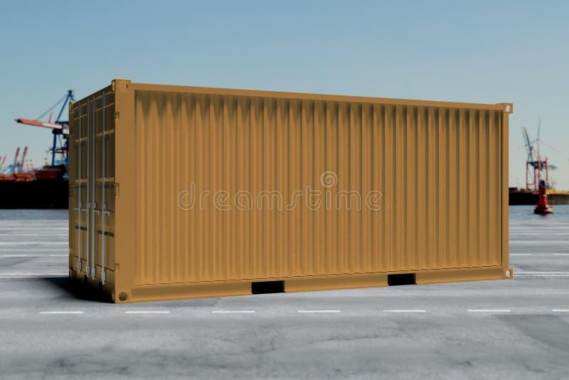Spot omhoog van een container op een dok - het 3d teruggeven royalty-vrije illustratie