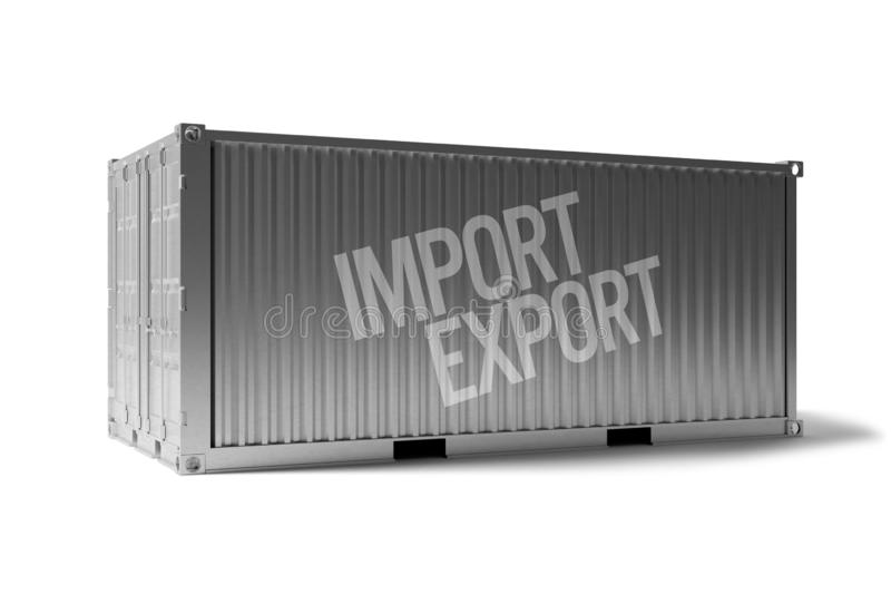 Spot omhoog van een container op een dok - het 3d teruggeven vector illustratie