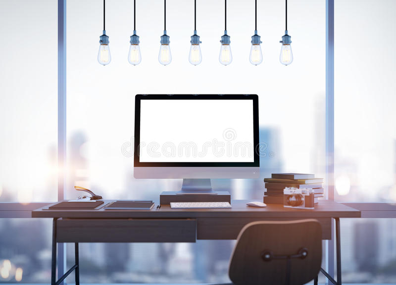 Spot omhoog van het generische scherm van de ontwerpcomputer en royalty-vrije illustratie