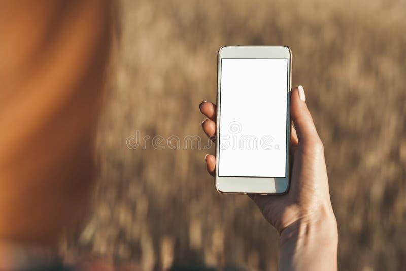Spot omhoog van smartphone in de hand van het meisje, op de achtergrond van het gebied royalty-vrije stock foto