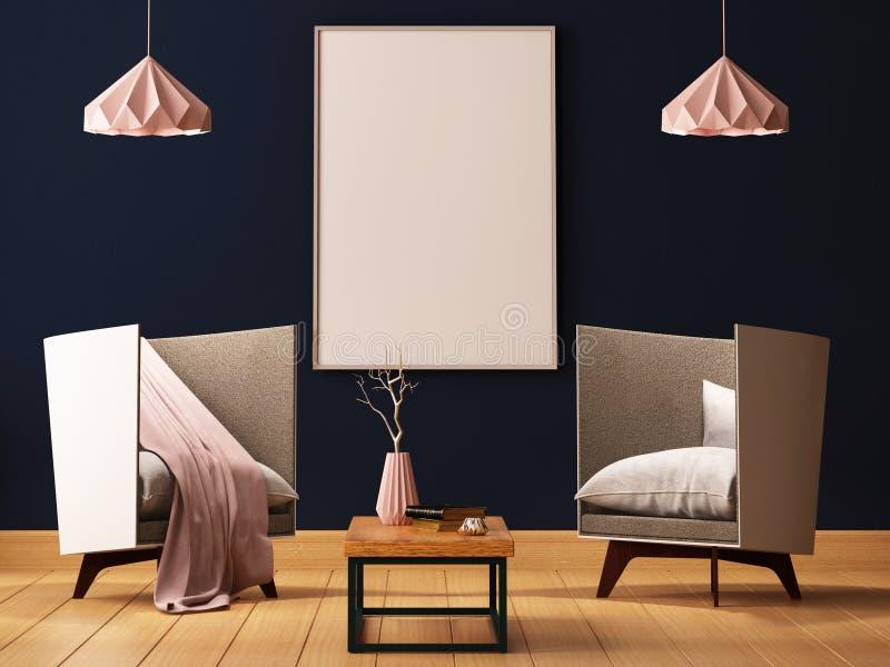 Spot op affiche binnen een woonkamer met leunstoelen en lampen 3d 3d illustratie geeft terug royalty-vrije illustratie