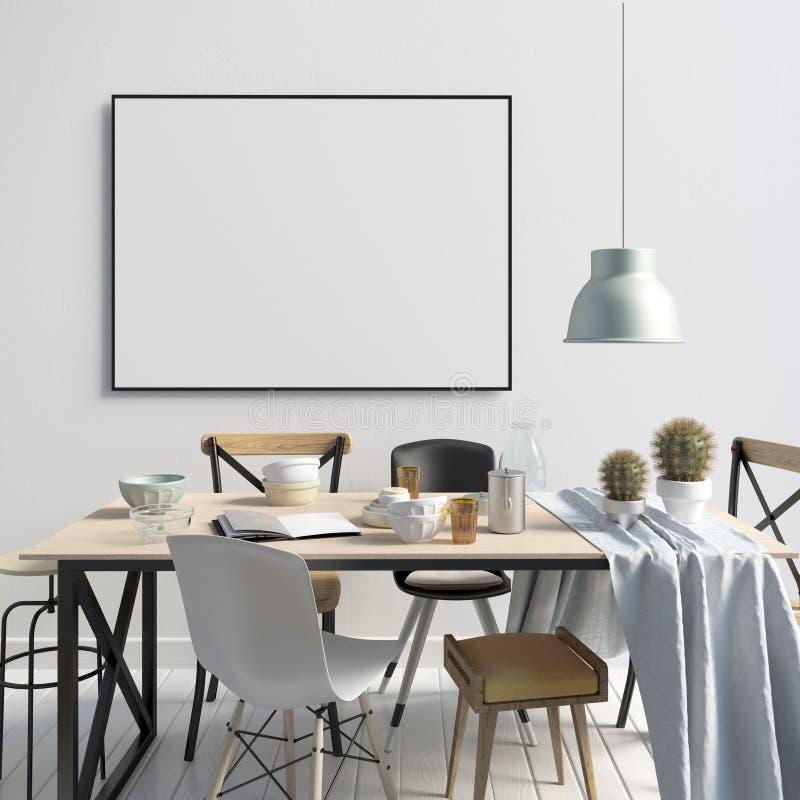 Spot op affiche in binnenland met het dineren gebied Moderne woonkamer vector illustratie