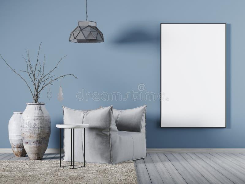 Spot op affiche op blauwe muur in woonkamerwhit stoffenleunstoel, een koffietafel en een grote vaas royalty-vrije illustratie
