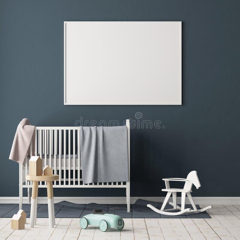 Spot op affiche in de kinderen` s ruimte Kinderen` s ruimte in Skandinavische stijl 3D Illustratie vector illustratie