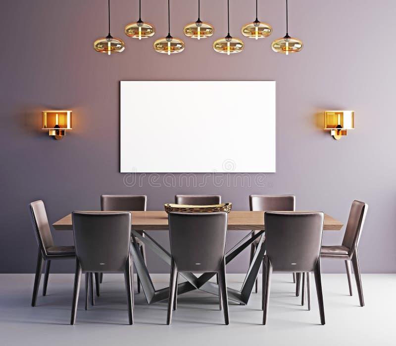Spot op affiche in eetkamer, eigentijdse achtergrond vector illustratie