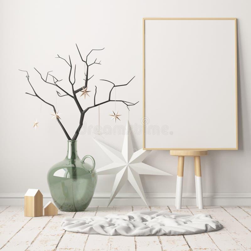 Spot op affiche in het Kerstmisbinnenland in Skandinavische stijl het 3d teruggeven stock illustratie