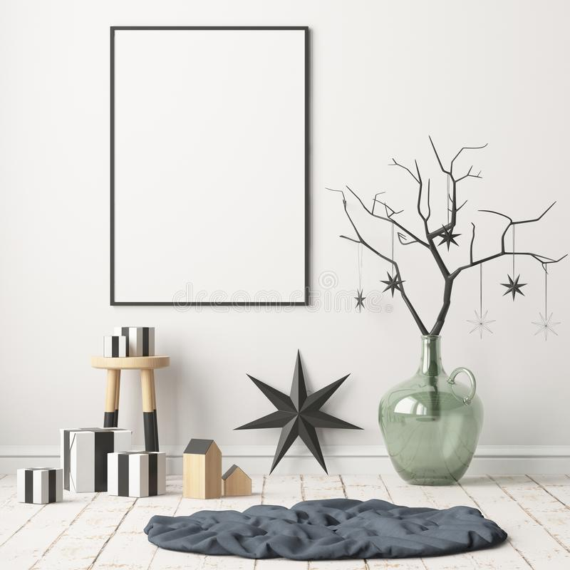 Spot op affiche in het Kerstmisbinnenland in Skandinavische stijl het 3d teruggeven royalty-vrije illustratie