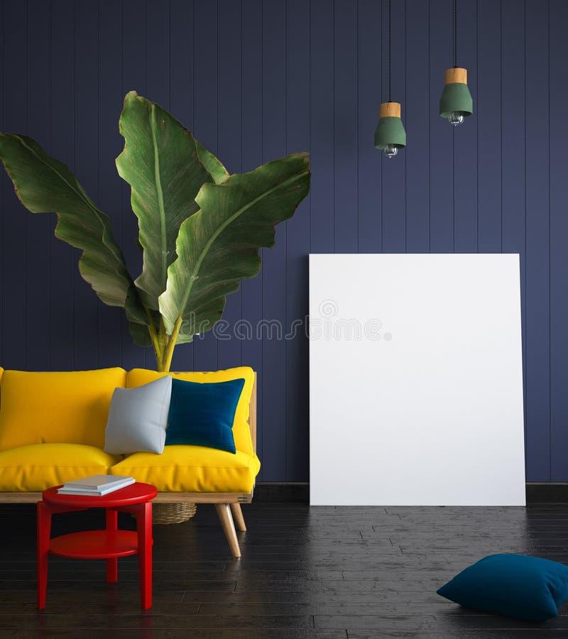 Spot op affiche in hipsterbinnenland met gele bank royalty-vrije stock afbeeldingen