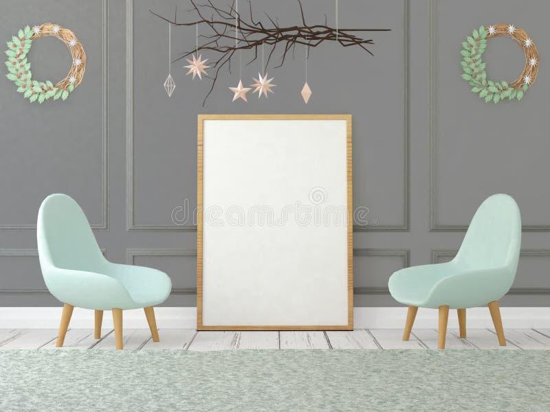 Spot op affiche in Kerstmisbinnenland 3D Illustratie 3d geef terug royalty-vrije illustratie