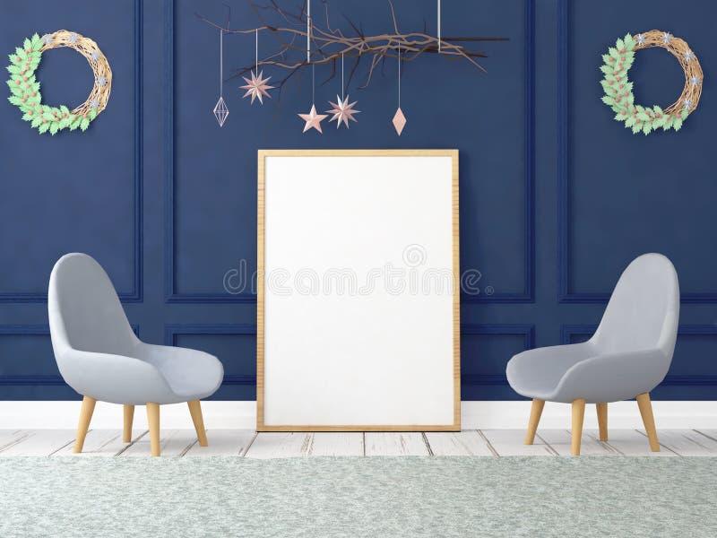 Spot op affiche in Kerstmisbinnenland 3D Illustratie 3d geef terug stock illustratie