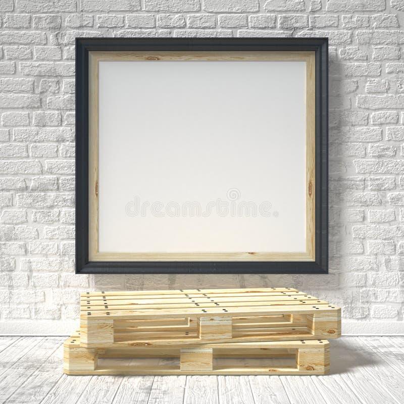 Spot op affiche met houten pallet 3d vector illustratie
