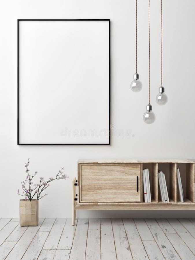 Spot op affiche met ladenkast, lampen en bloemen, stock illustratie