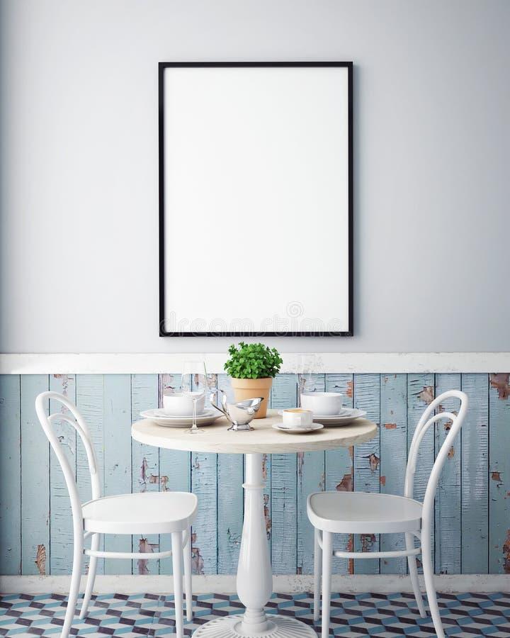 Spot op affiche met uitstekende het restaurant binnenlandse achtergrond van de hipsterkoffie stock afbeeldingen