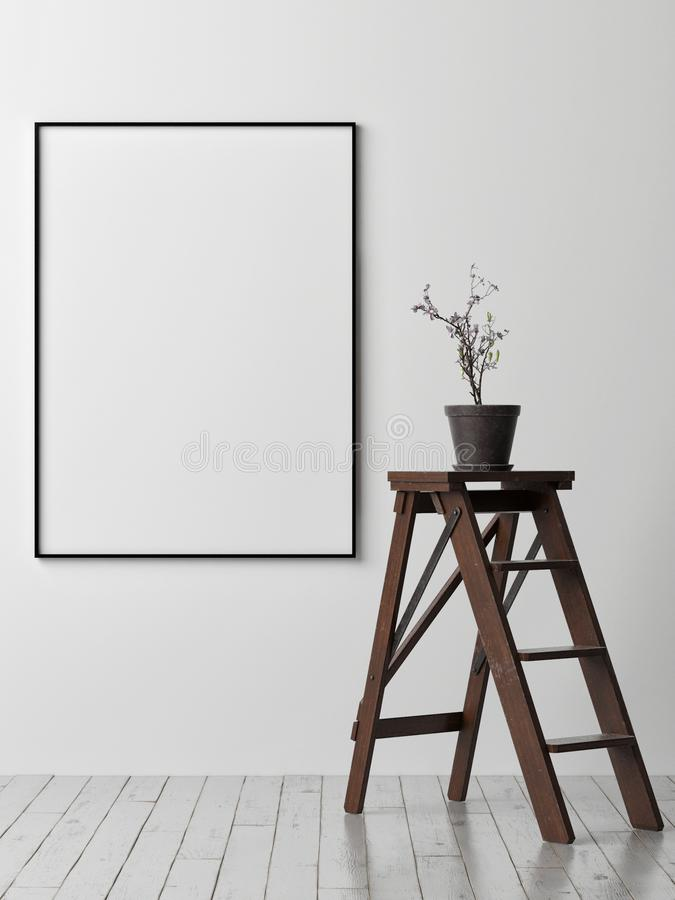 Spot op affiche, minimalism binnenlands ontwerp, ladders met pottenbloemen royalty-vrije illustratie