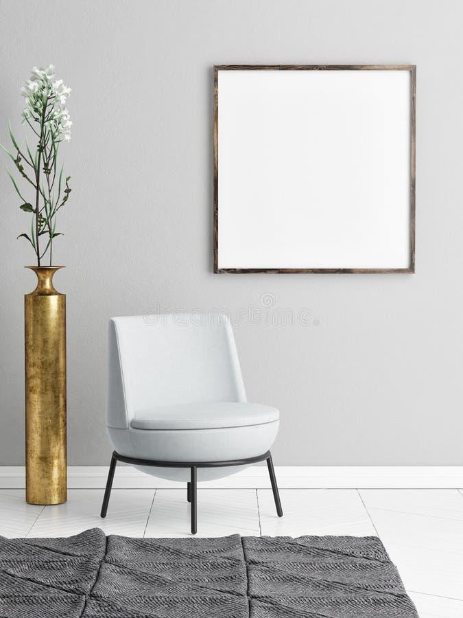 Spot op affiche op minimalism hipster achtergrondmuur royalty-vrije illustratie