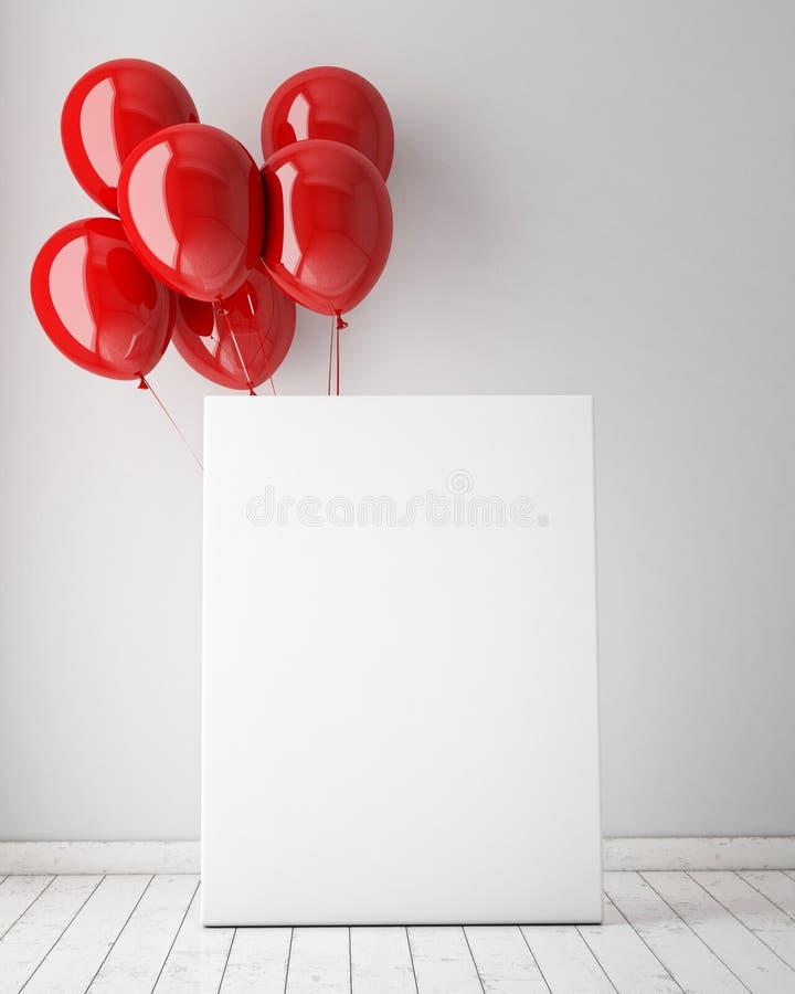 Spot op affiche op binnenlandse achtergrond met rode ballons, stock afbeeldingen