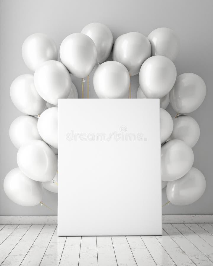 Spot op affiche op binnenlandse achtergrond met witte ballons,