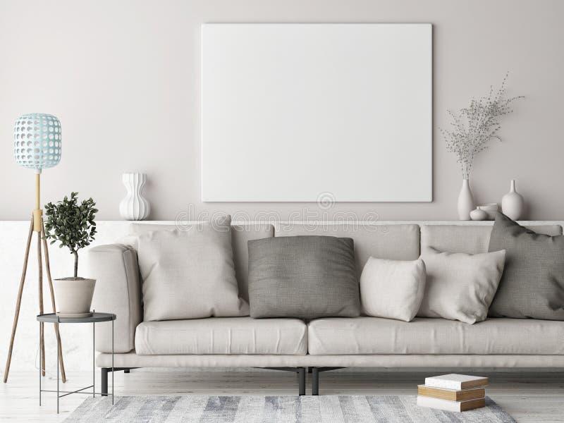 Spot op affiche, Skandinavisch ontwerp als achtergrond, gekleurde pastelkleur royalty-vrije illustratie